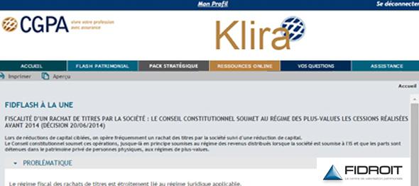 Fidroit crée Klira pour CGPA